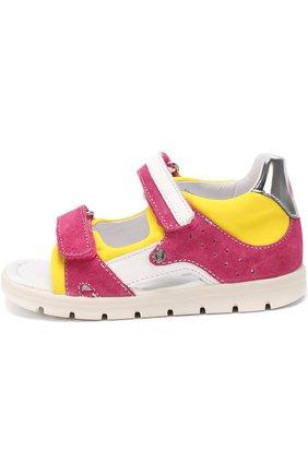 Комбинированные сандалии с застежками велькро   Фото №2