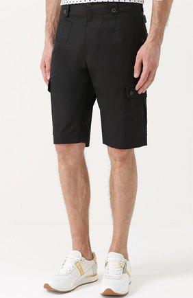 Хлопковые шорты с накладными карманами Dolce & Gabbana черные | Фото №3