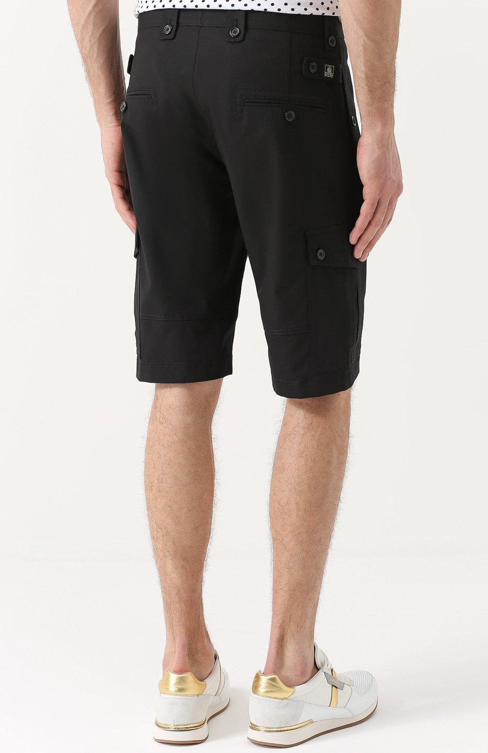 Хлопковые шорты с накладными карманами Dolce & Gabbana черные | Фото №4