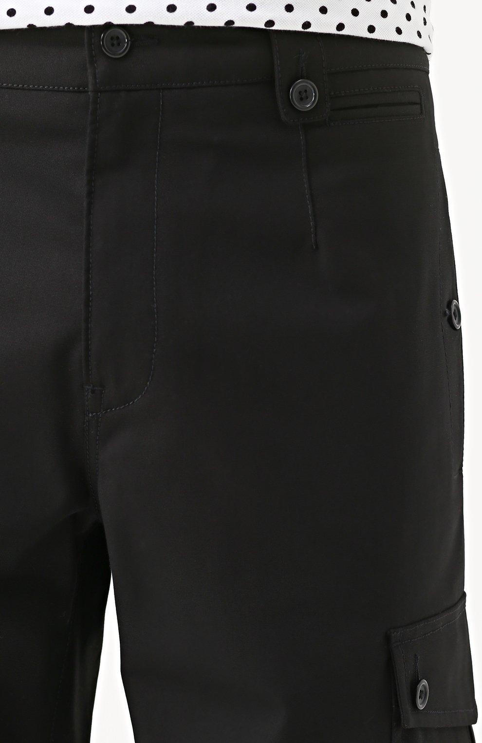 Хлопковые шорты с накладными карманами Dolce & Gabbana черные | Фото №5