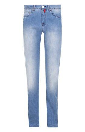Мужские джинсы прямого кроя с потертостями KITON голубого цвета, арт. UPNJS1/6N88 | Фото 1