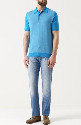 Мужские джинсы прямого кроя с потертостями KITON голубого цвета, арт. UPNJS1/6N88 | Фото 2