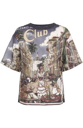 Льняная футболка свободного кроя с принтом Dolce & Gabbana разноцветная | Фото №1