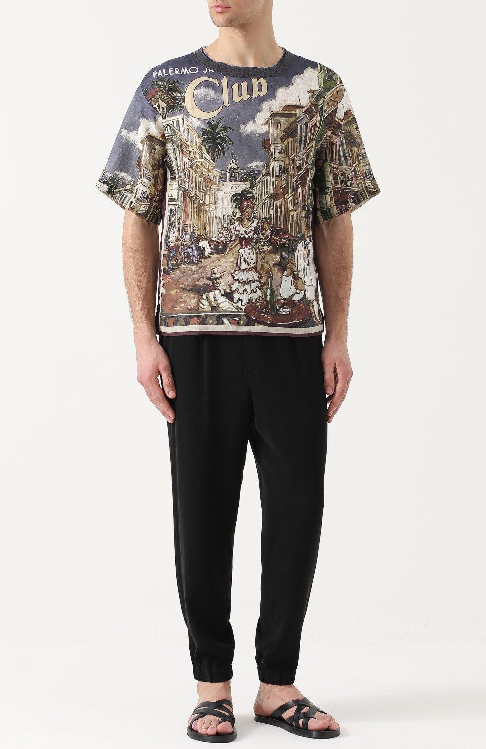 Льняная футболка свободного кроя с принтом Dolce & Gabbana разноцветная | Фото №2