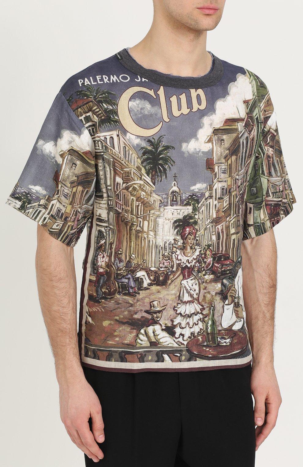 Льняная футболка свободного кроя с принтом Dolce & Gabbana разноцветная | Фото №3