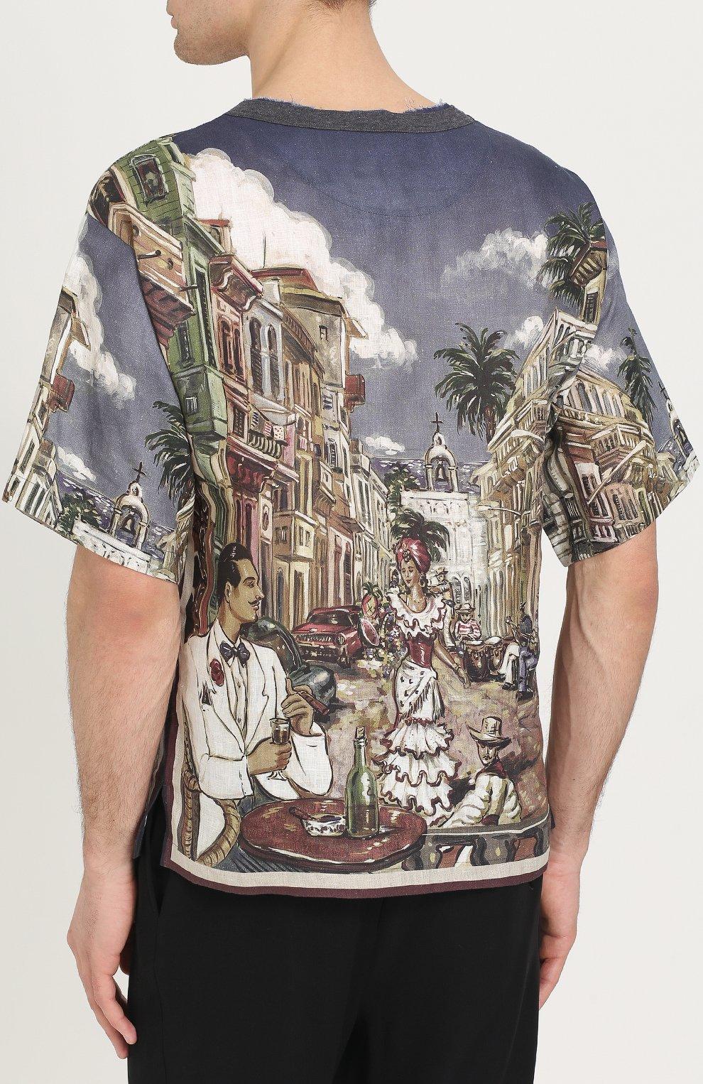 Льняная футболка свободного кроя с принтом Dolce & Gabbana разноцветная | Фото №4