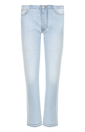 Укороченные джинсы прямого кроя с необработанным краем Nine in the morning голубые | Фото №1