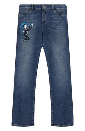 Детские джинсы прямого кроя с вышивкой Dolce & Gabbana синего цвета | Фото №1