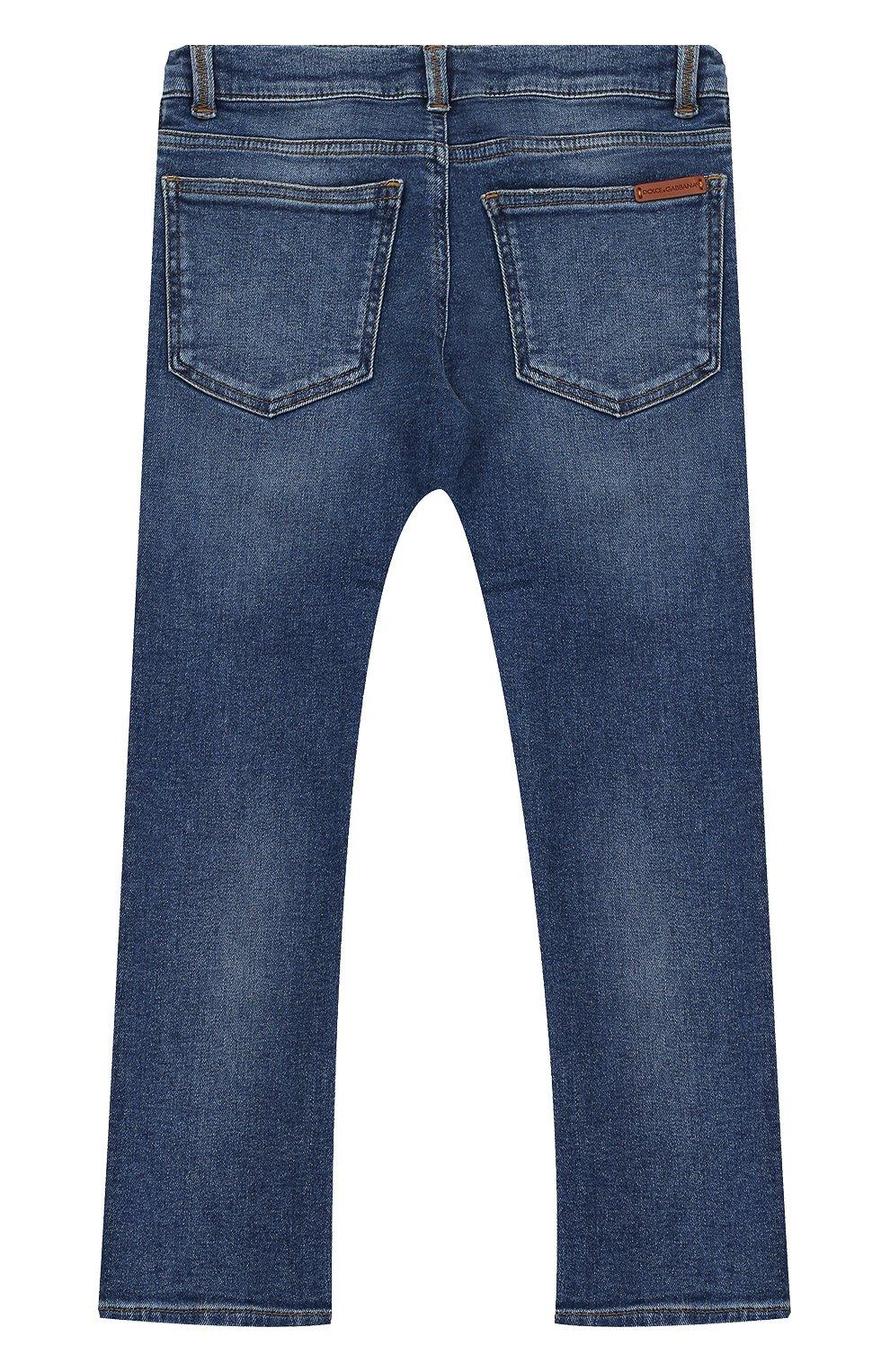 Детские джинсы прямого кроя с вышивкой Dolce & Gabbana синего цвета | Фото №2