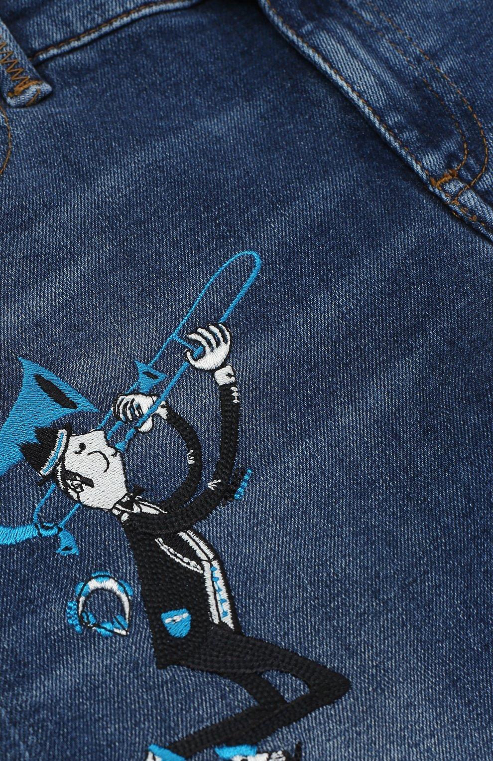 Детские джинсы прямого кроя с вышивкой Dolce & Gabbana синего цвета | Фото №3