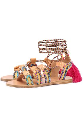 Кожаные сандалии Pisces с плетением и подвесками | Фото №1
