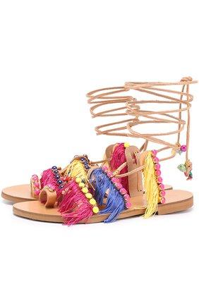 Кожаные сандалии Tahiti с бусинами и бахромой | Фото №1