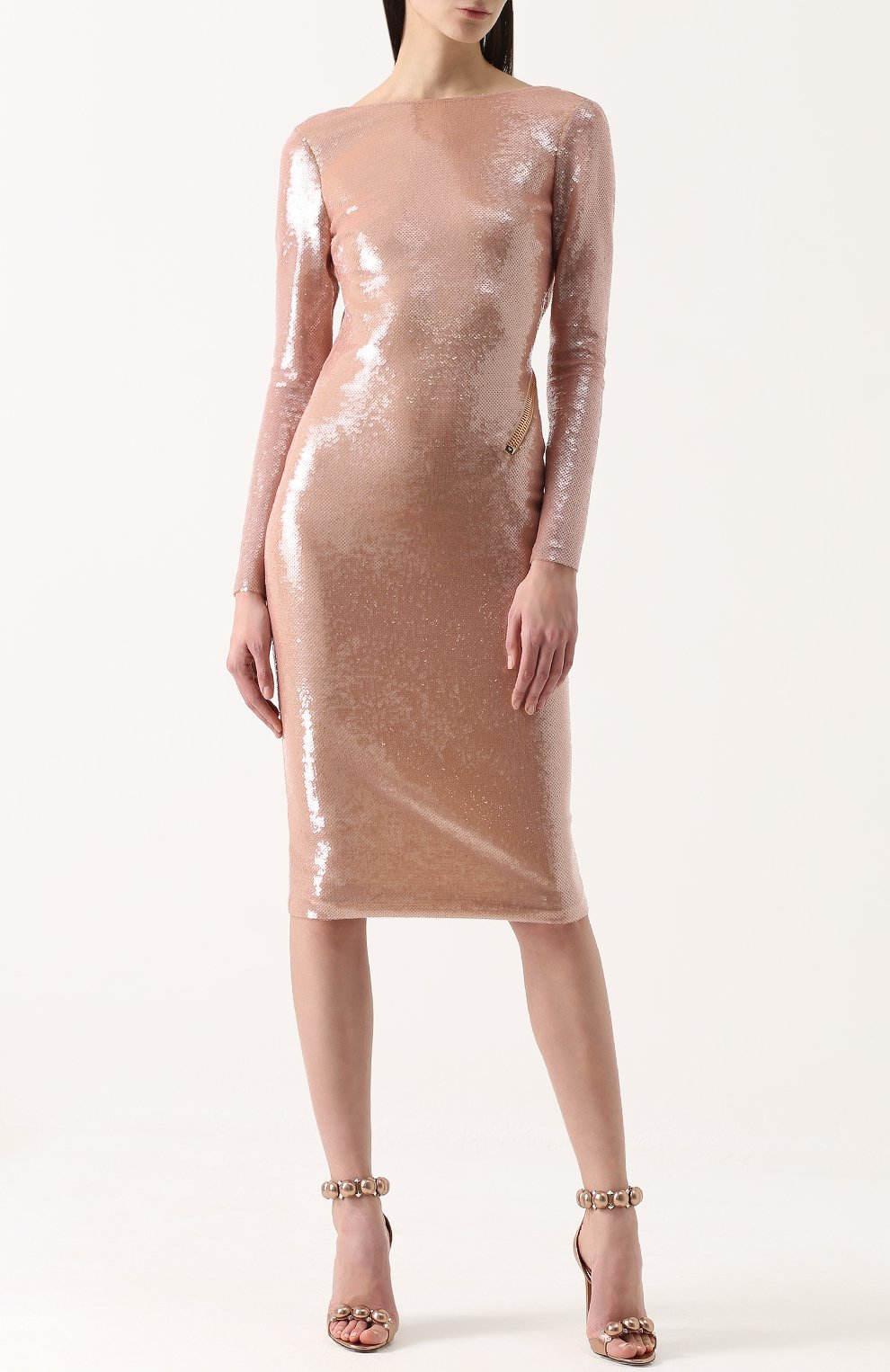 2dbdacb76d2 Женское бежевое платье-футляр с пайетками и открытой спиной TOM FORD ...