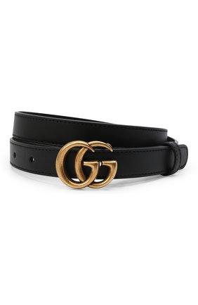 Женский кожаный ремень с логотипом бренда на пряжке GUCCI черного цвета, арт. 409417/AP00T   Фото 1