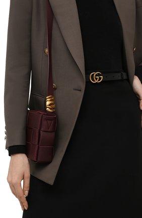 Женский кожаный ремень с логотипом бренда на пряжке GUCCI черного цвета, арт. 409417/AP00T   Фото 2