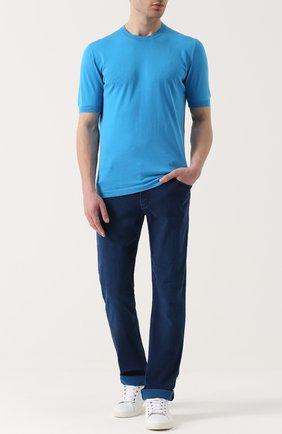 Мужской хлопковый джемпер KITON бирюзового цвета, арт. UK441 | Фото 2