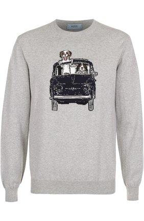 Хлопковый джемпер тонкой вязки с принтом Burri Milano серый   Фото №1