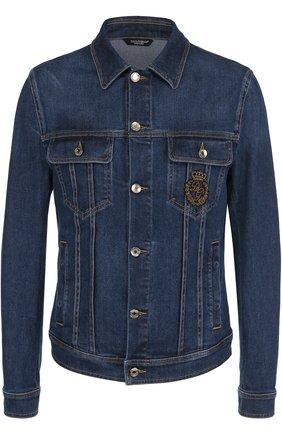 Джинсовая куртка с контрастной прострочкой и вышивкой канителью | Фото №1