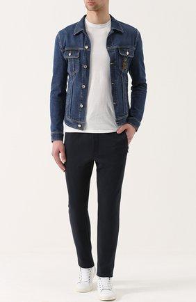 Джинсовая куртка с контрастной прострочкой и вышивкой канителью | Фото №2