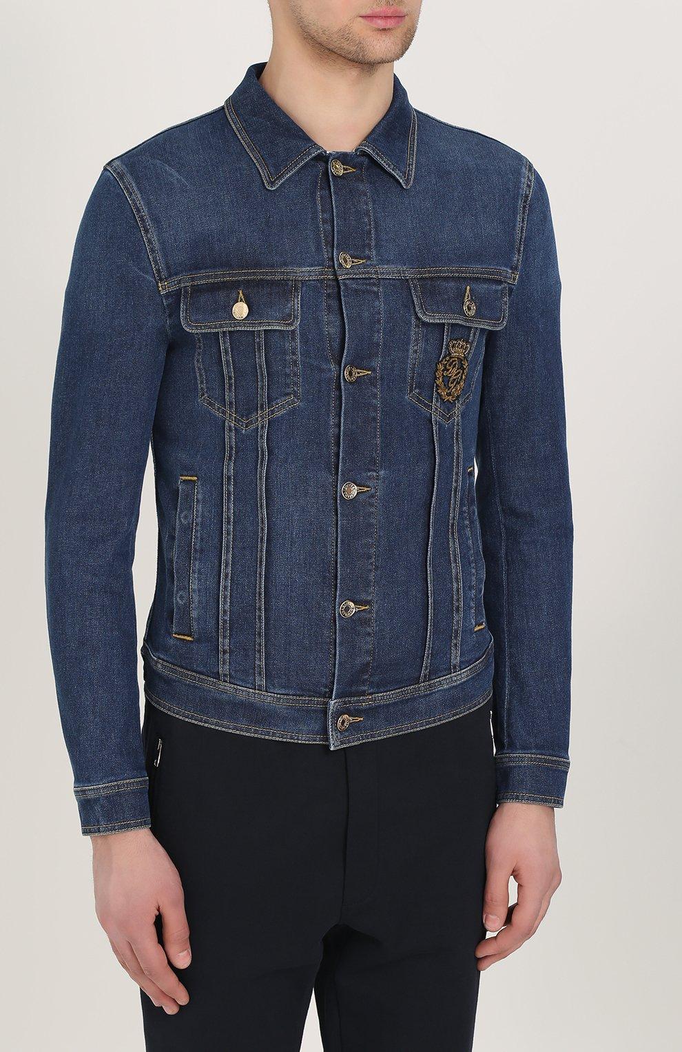 Джинсовая куртка с контрастной прострочкой и вышивкой канителью | Фото №3