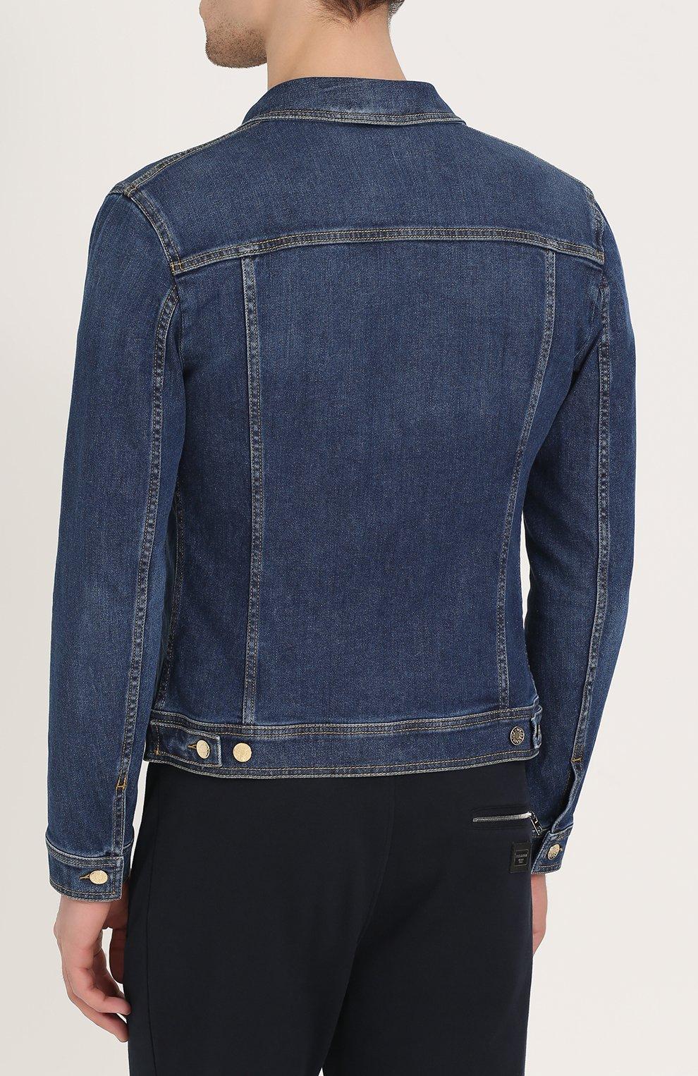 Джинсовая куртка с контрастной прострочкой и вышивкой канителью | Фото №4