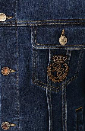 Джинсовая куртка с контрастной прострочкой и вышивкой канителью | Фото №5