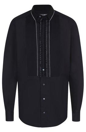 Хлопковая вечерняя сорочка с шелковой отделкой Dolce & Gabbana черная | Фото №1