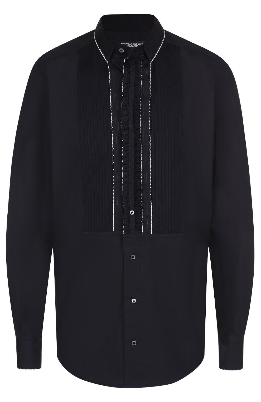 Хлопковая вечерняя сорочка с шелковой отделкой Dolce & Gabbana черная | Фото №2