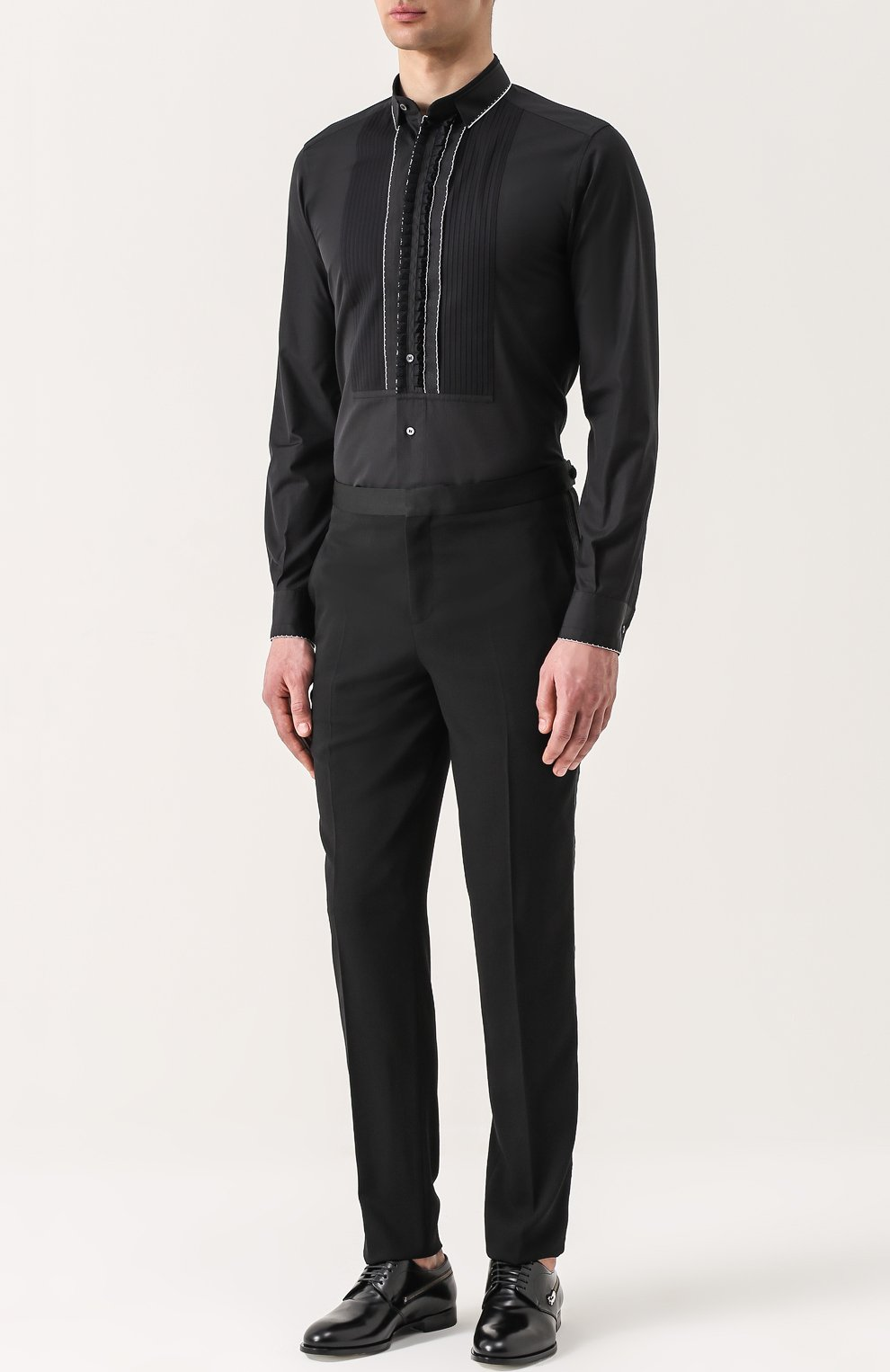 Хлопковая вечерняя сорочка с шелковой отделкой Dolce & Gabbana черная | Фото №3