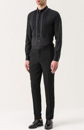 Хлопковая вечерняя сорочка с шелковой отделкой Dolce & Gabbana черная | Фото №4