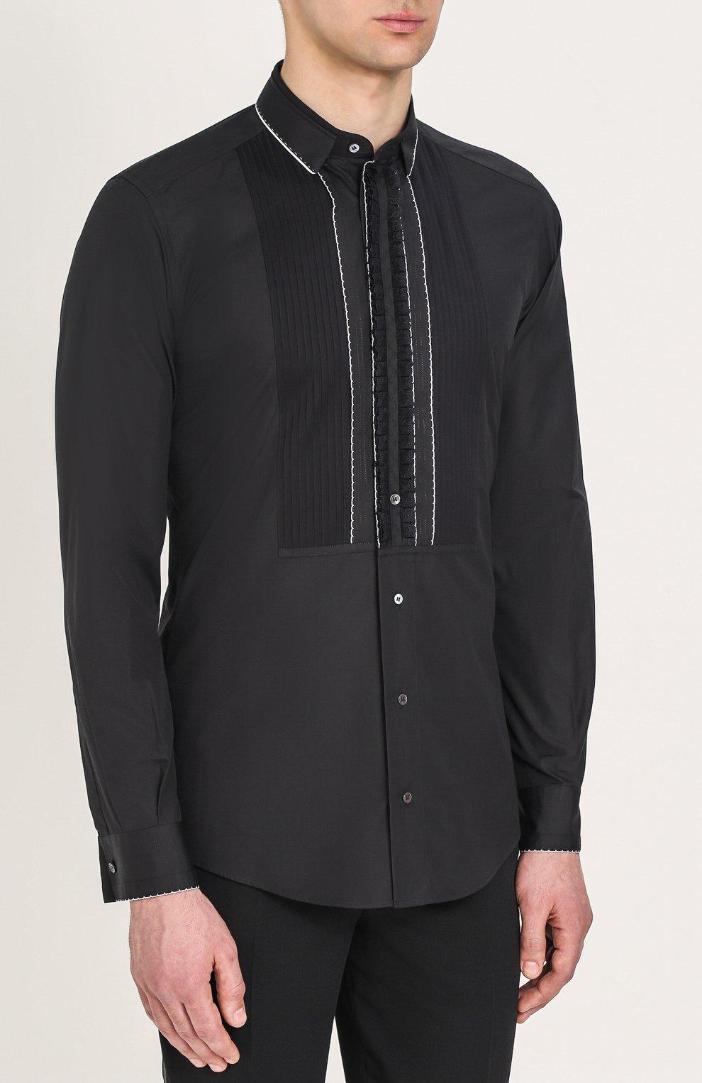 Хлопковая вечерняя сорочка с шелковой отделкой Dolce & Gabbana черная | Фото №5