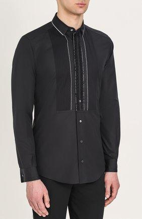 Хлопковая вечерняя сорочка с шелковой отделкой Dolce & Gabbana черная | Фото №6