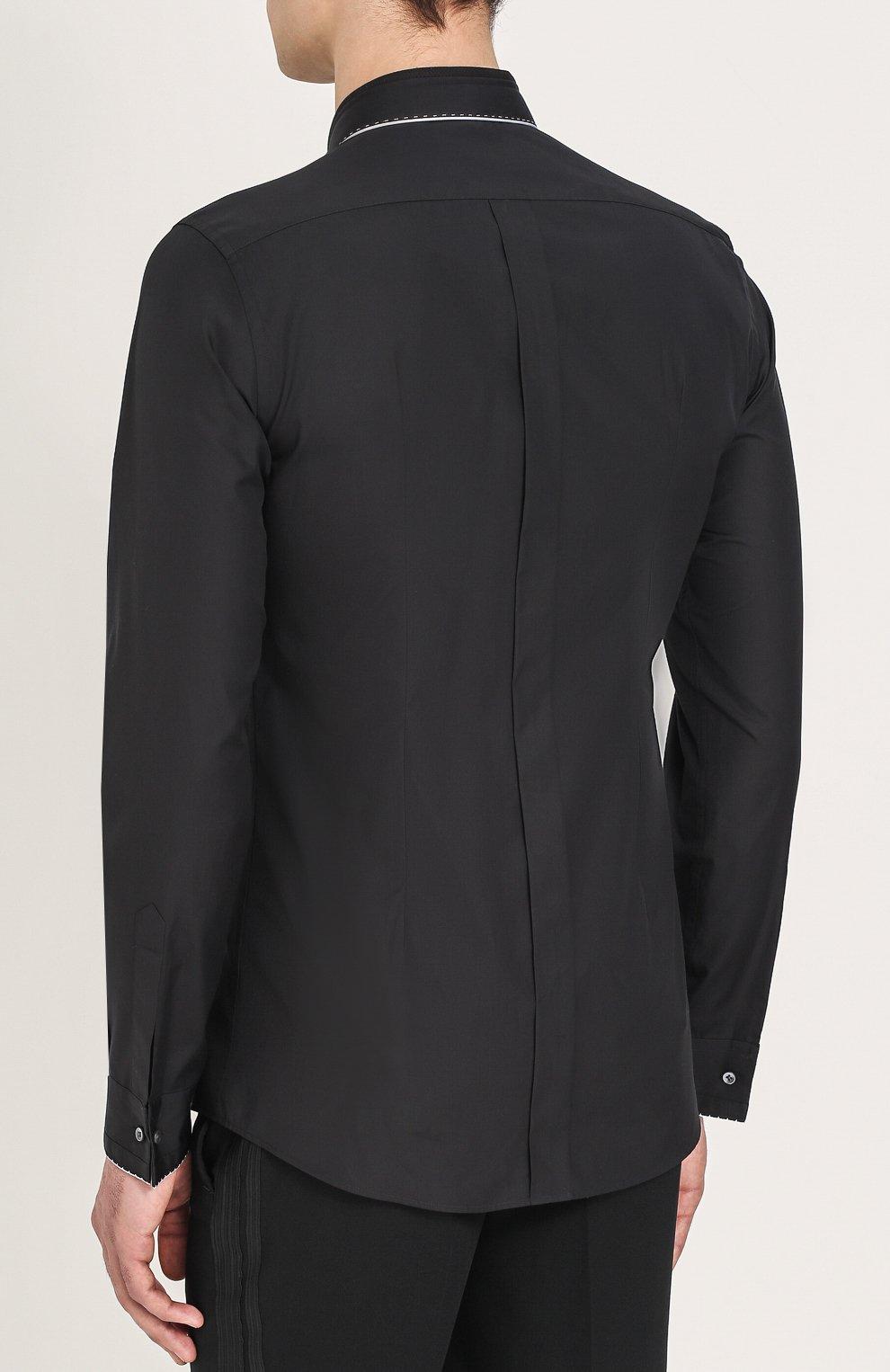 Хлопковая вечерняя сорочка с шелковой отделкой Dolce & Gabbana черная | Фото №7