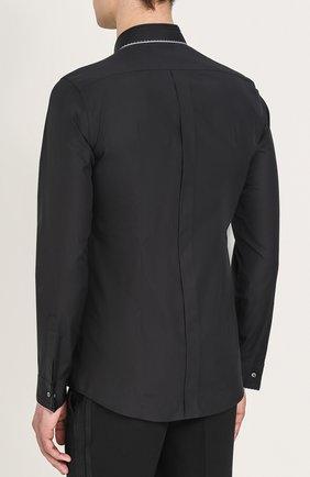 Хлопковая вечерняя сорочка с шелковой отделкой Dolce & Gabbana черная | Фото №8