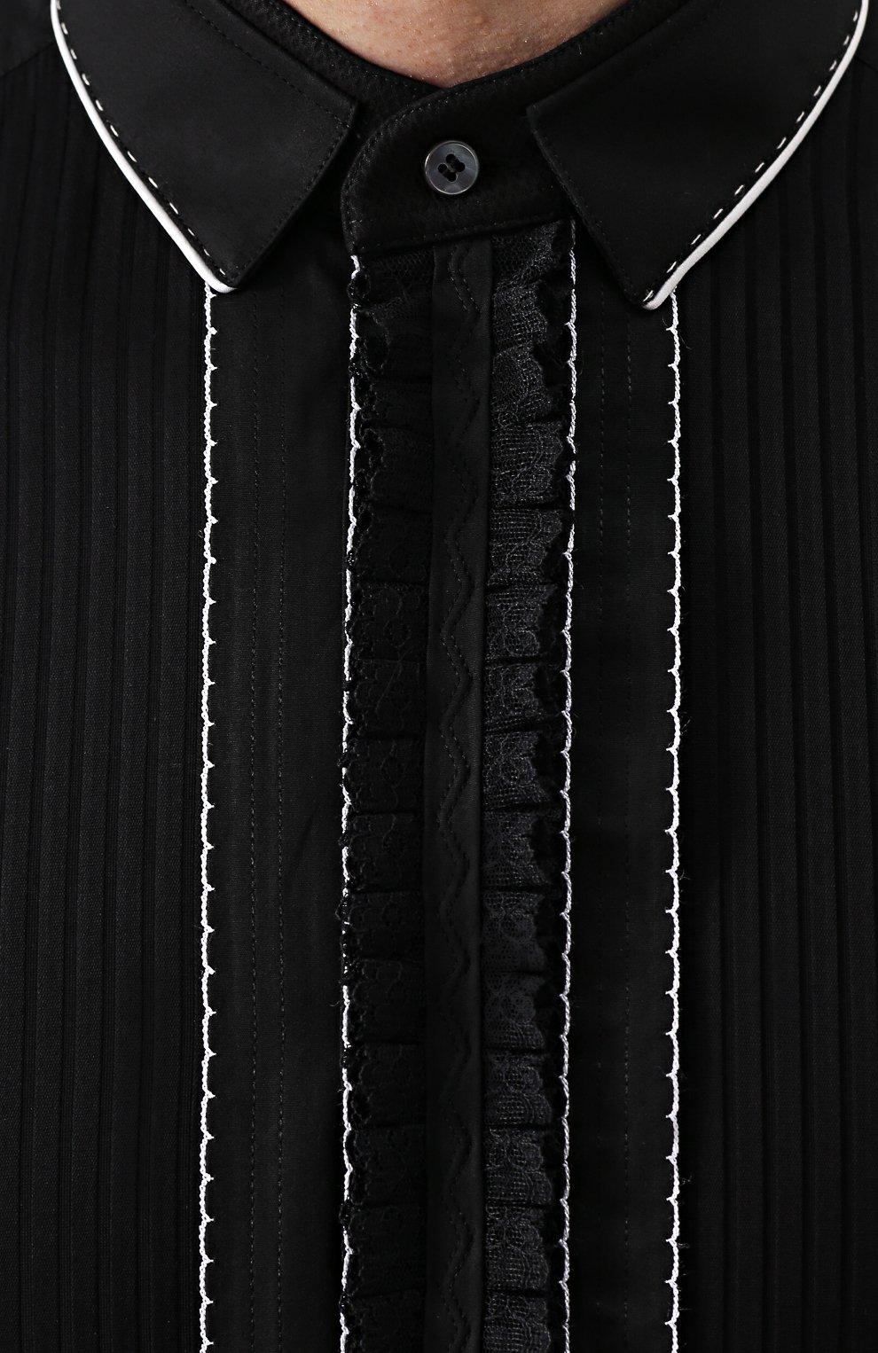 Хлопковая вечерняя сорочка с шелковой отделкой Dolce & Gabbana черная | Фото №9