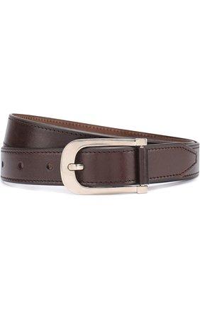 Мужской кожаный ремень с металлической пряжкой TOM FORD темно-коричневого цвета, арт. TB198Q/C37 | Фото 1