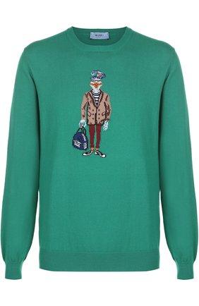 Хлопковый джемпер тонкой вязки с принтом Burri Milano зеленый   Фото №1