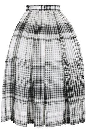 Пышная юбка-миди в клетку sara roka черно-белая | Фото №1
