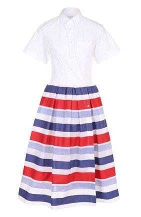 Платье-рубашка с пышной юбкой в контрастную полоску | Фото №1