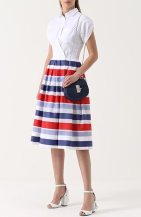 Платье-рубашка с пышной юбкой в контрастную полоску sara roka разноцветное | Фото №1