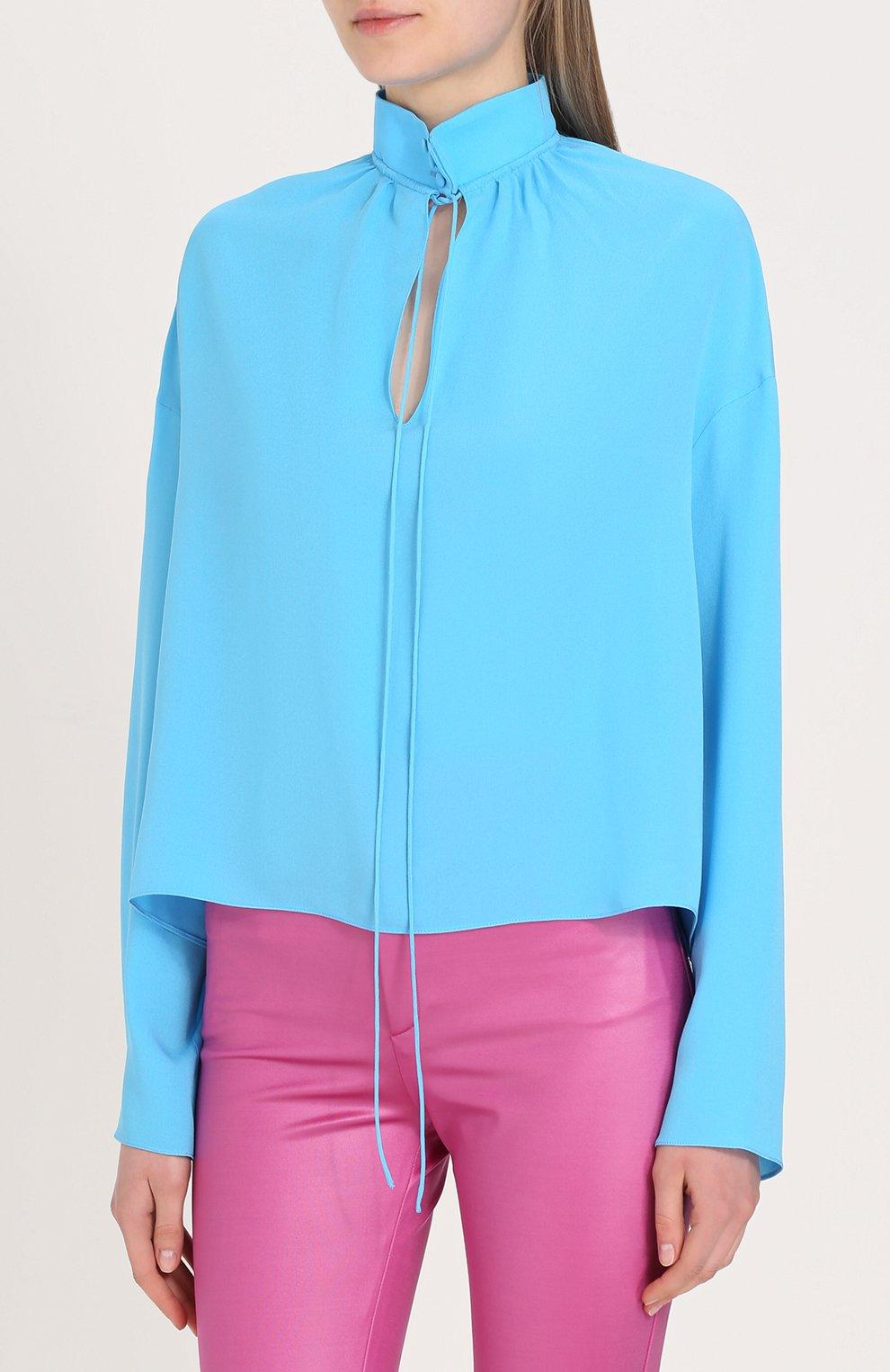 030a6182053 Шелковая блуза свободного кроя с воротником-стойкой Balenciaga бирюзовая