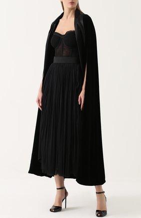Шелковая пышная юбка-макси Dolce & Gabbana черная | Фото №2