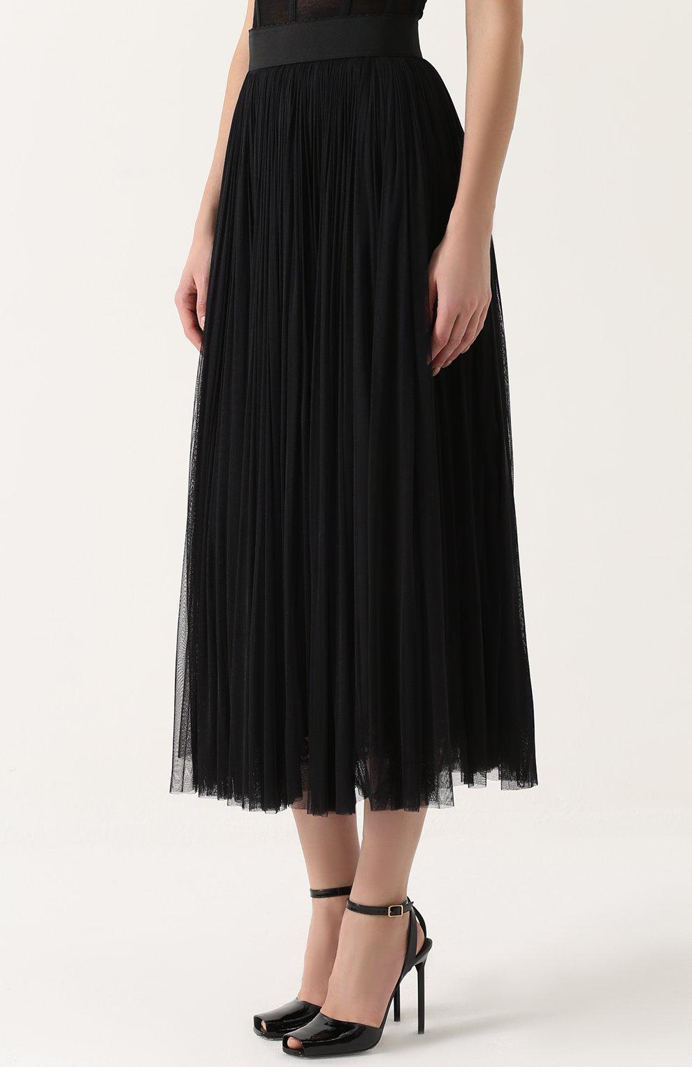Шелковая пышная юбка-макси Dolce & Gabbana черная | Фото №3