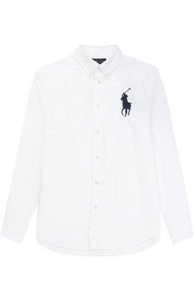 Детская рубашка из хлопка с воротником button down и логотипом бренда POLO RALPH LAUREN белого цвета, арт. B04/XZ70X/XY70X | Фото 1 (Рукава: Длинные; Статус проверки: Проверена категория; Материал внешний: Хлопок; Принт: Без принта; Стили: Классический)