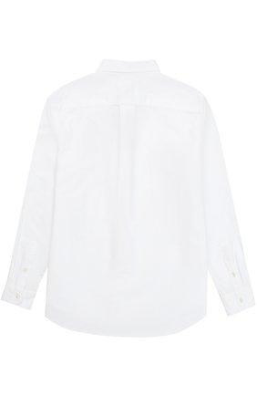 Детская рубашка из хлопка с воротником button down и логотипом бренда POLO RALPH LAUREN белого цвета, арт. B04/XZ70X/XY70X | Фото 2 (Рукава: Длинные; Статус проверки: Проверена категория; Материал внешний: Хлопок; Принт: Без принта; Стили: Классический)