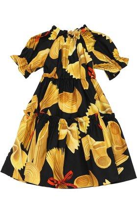 Детское платье из хлопка с принтом Dolce & Gabbana разноцветного цвета   Фото №1