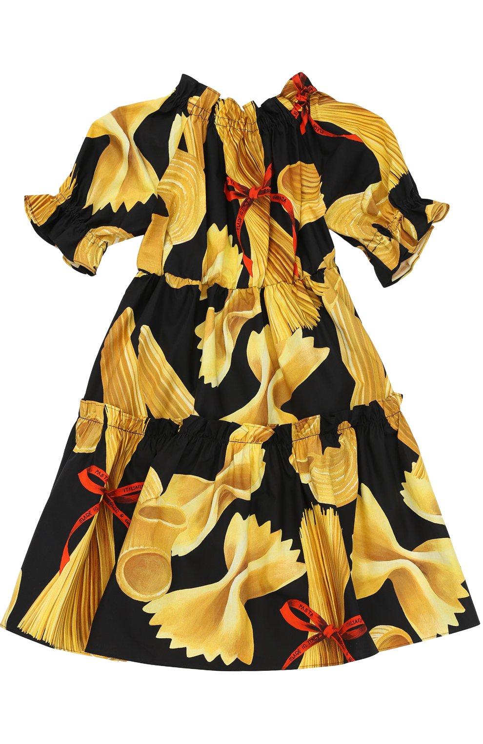 Детское платье из хлопка с принтом Dolce & Gabbana разноцветного цвета   Фото №2