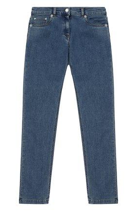 Детские джинсы прямого кроя с аппликацией Dolce & Gabbana голубого цвета | Фото №1