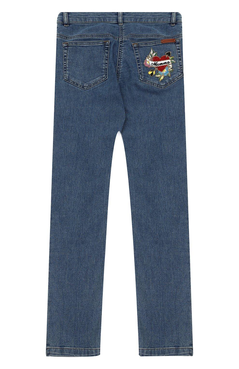 Детские джинсы прямого кроя с аппликацией Dolce & Gabbana голубого цвета | Фото №2