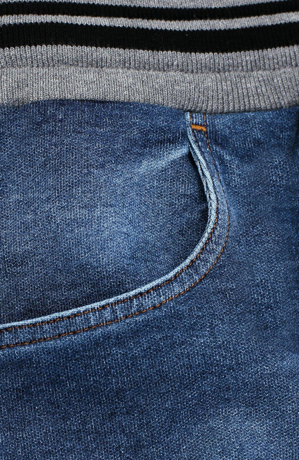 Детские джинсы прямого кроя с эластичным поясом Dolce & Gabbana голубого цвета | Фото №3